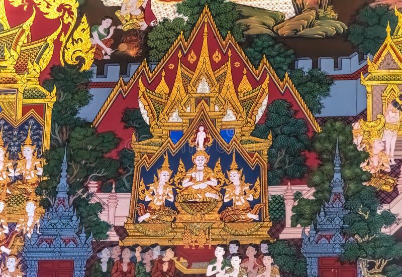 Thailändsk målning: Födelse av Buddha arkivbild