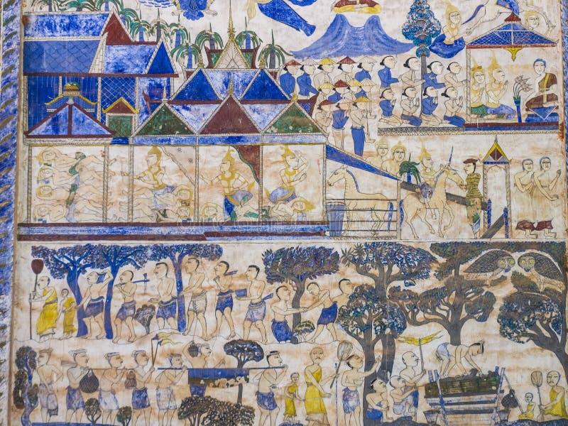 Thailändsk målning för tradition på väggen av kyrkan i templet arkivbild