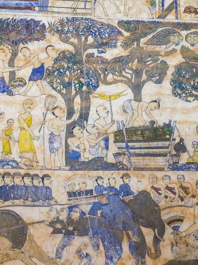 Thailändsk målning för tradition på väggen av kyrkan i templet fotografering för bildbyråer