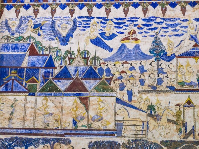 Thailändsk målning för tradition på väggen av kyrkan i templet arkivfoto