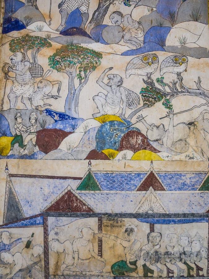 Thailändsk målning för tradition på väggen av kyrkan i templet royaltyfri fotografi