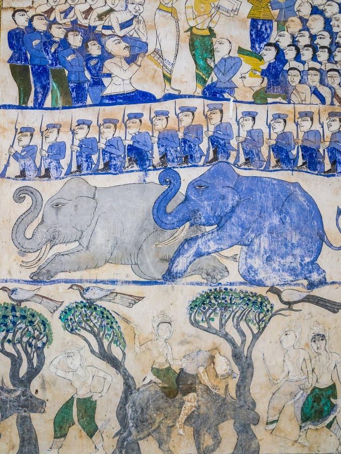 Thailändsk målning för tradition på väggen av kyrkan i templet arkivbilder