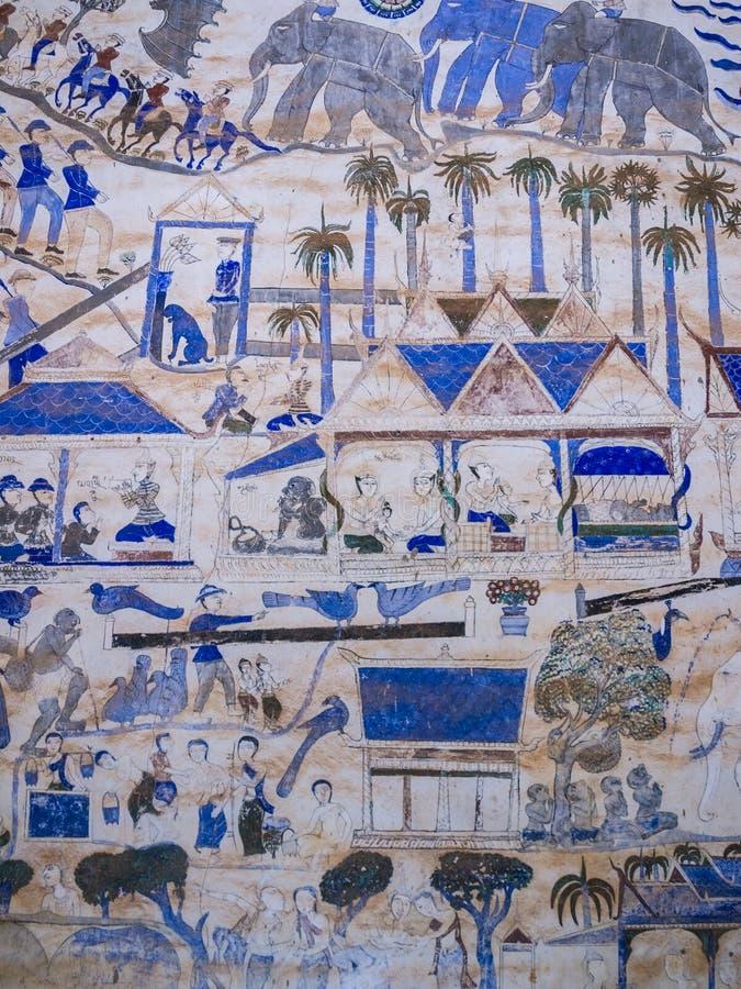 Thailändsk målning för tradition på väggen av kyrkan i templet royaltyfria bilder
