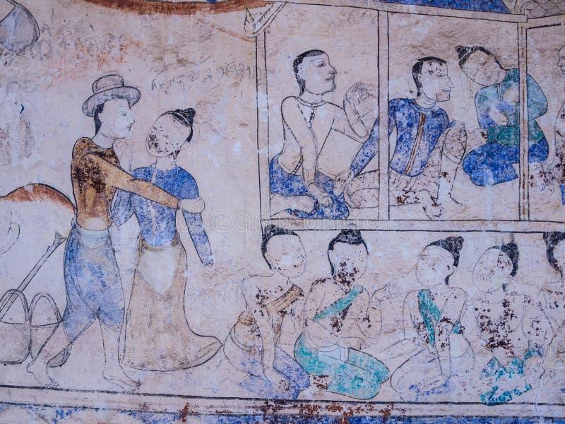 Thailändsk målning för tradition på väggen av kyrkan i templet arkivfoton