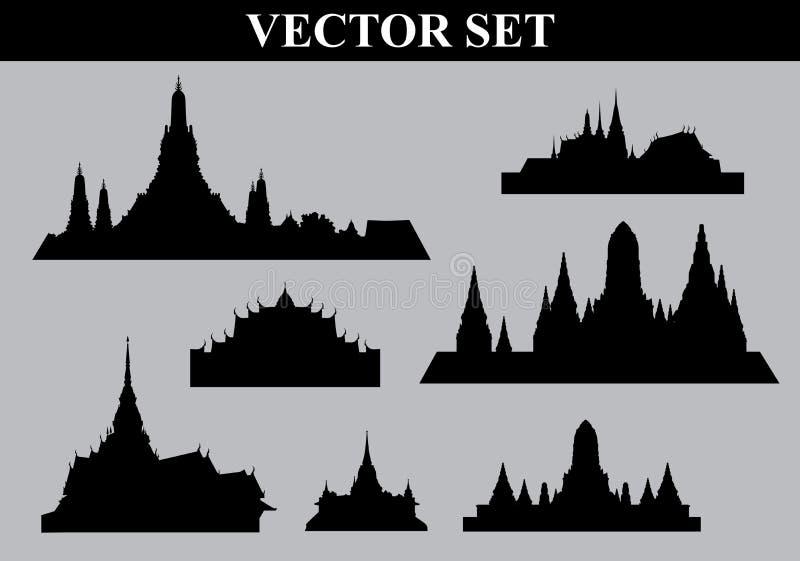 Thailändsk mapp för tempeluppsättningvektor stock illustrationer