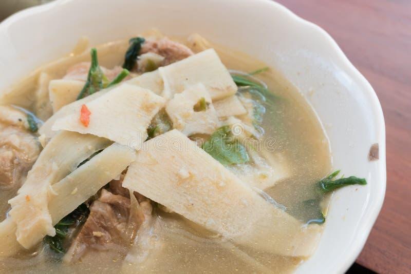 Thailändsk mat, curry för stil för soppa för bambufors nordlig royaltyfria bilder