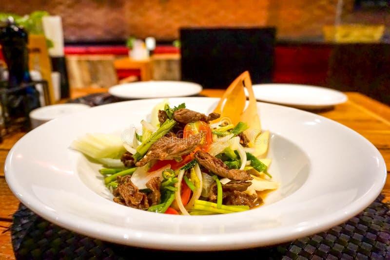 Thailändsk matnötköttsallad, asiatisk mat royaltyfri fotografi