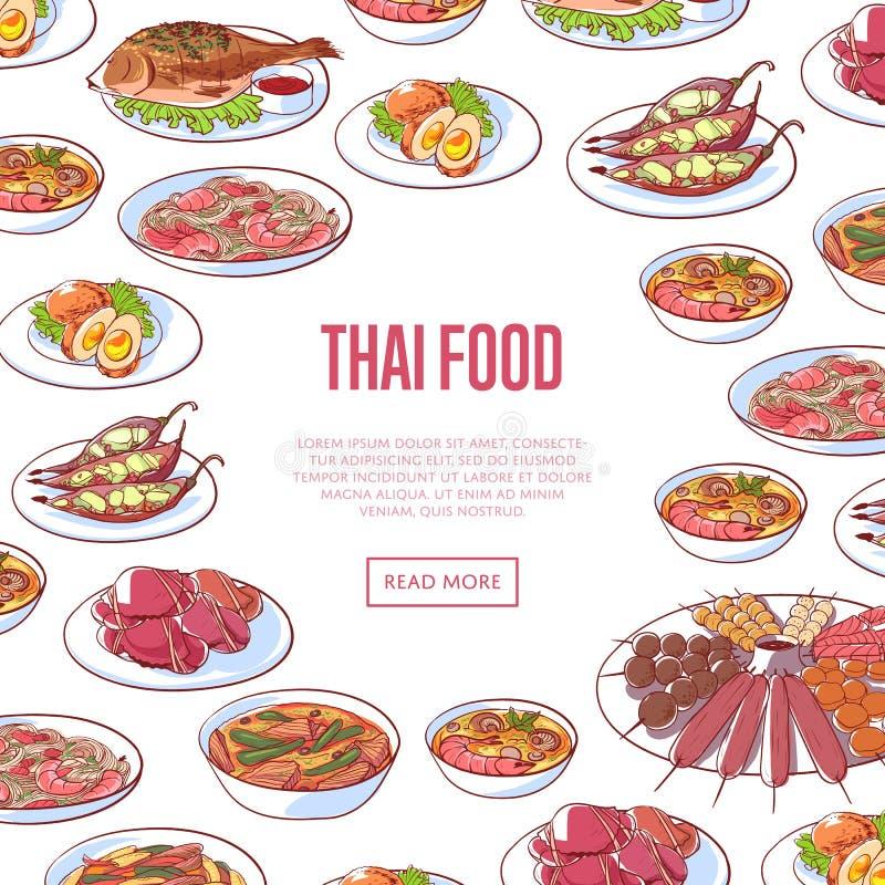 Thailändsk matrestaurangadvertizing med asiatisk disk royaltyfri illustrationer