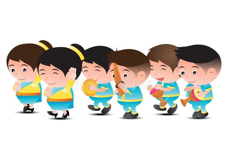Thailändsk musikmusikbanddansare, tom tom, vass och organ För festival och vektor illustrationer