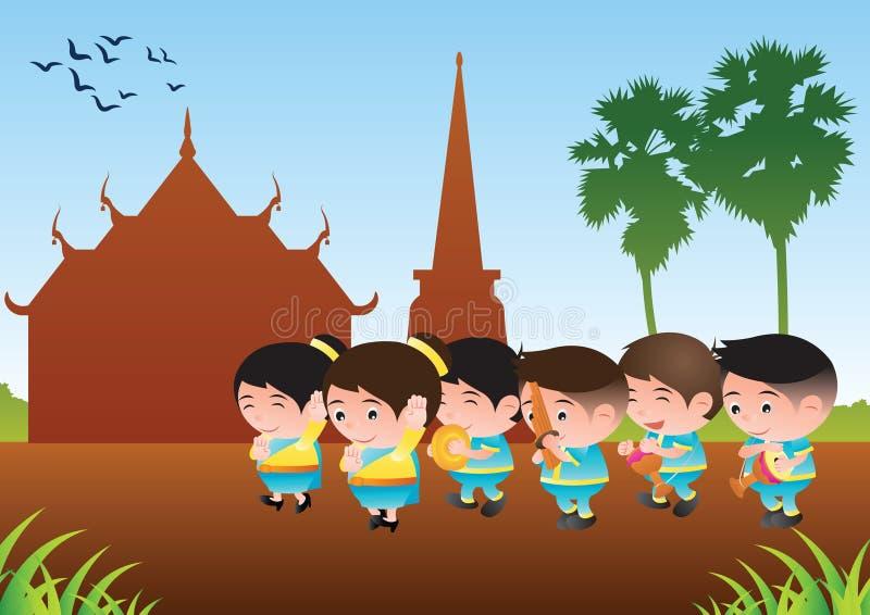 Thailändsk musikmusikbanddansare, tom tom, vass och organ För festival och royaltyfri illustrationer