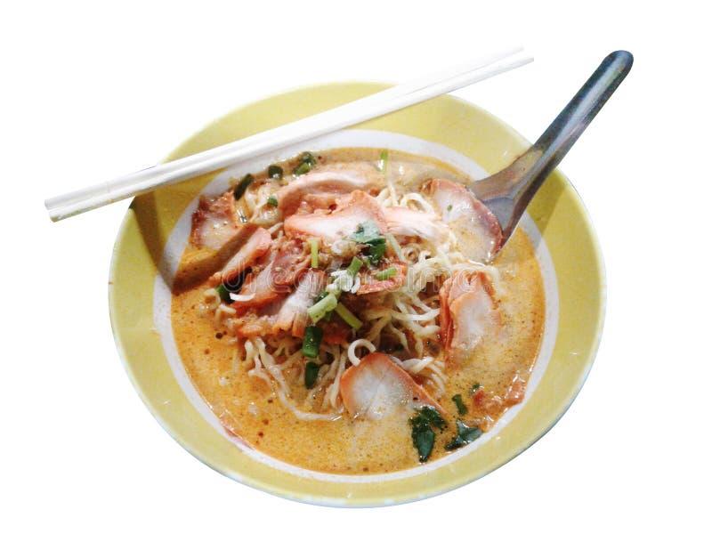 Thailändsk nudel för lunch, mjuk fokus På vitbakgrund vektor illustrationer