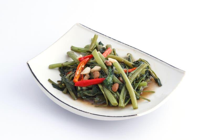 Thailändsk stekt morgonhärlighet för mat uppståndelse på den vita plattan arkivfoton