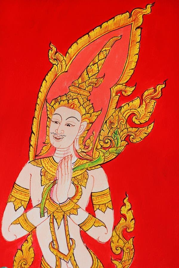 Thailändsk stilmålningkonst i den offentliga thailändska templet arkivbild