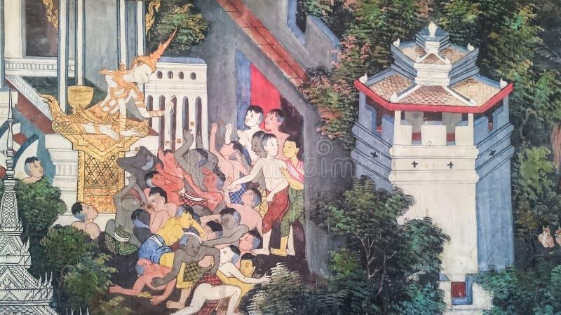 Thailändsk stilmålningkonst, sagor av birten för gamla för ` s för lord Buddha royaltyfri foto