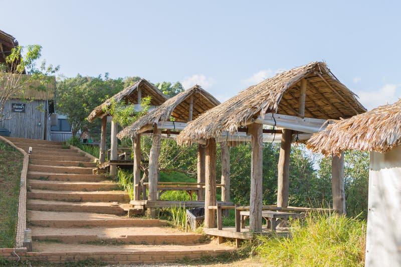 Thailändsk stilpaviljong med det halmtäckte taket royaltyfri foto