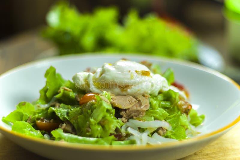 Thailändsk tonfisksallad med ägget, den kryddiga Tuna Salad löken och tomater i platta royaltyfria bilder