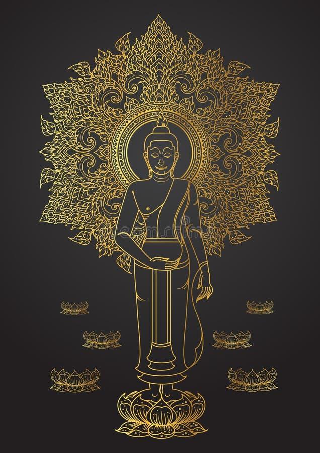 Thailändsk tradition av Buddhaställningen på guld- färgöversikt för lotusblomma stock illustrationer