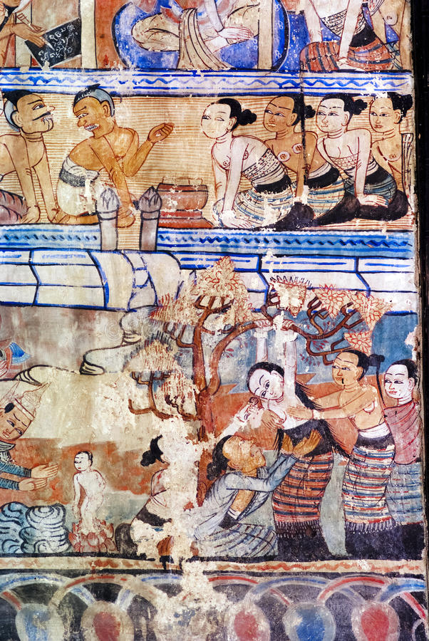 Thailändsk vägg- målning royaltyfria foton