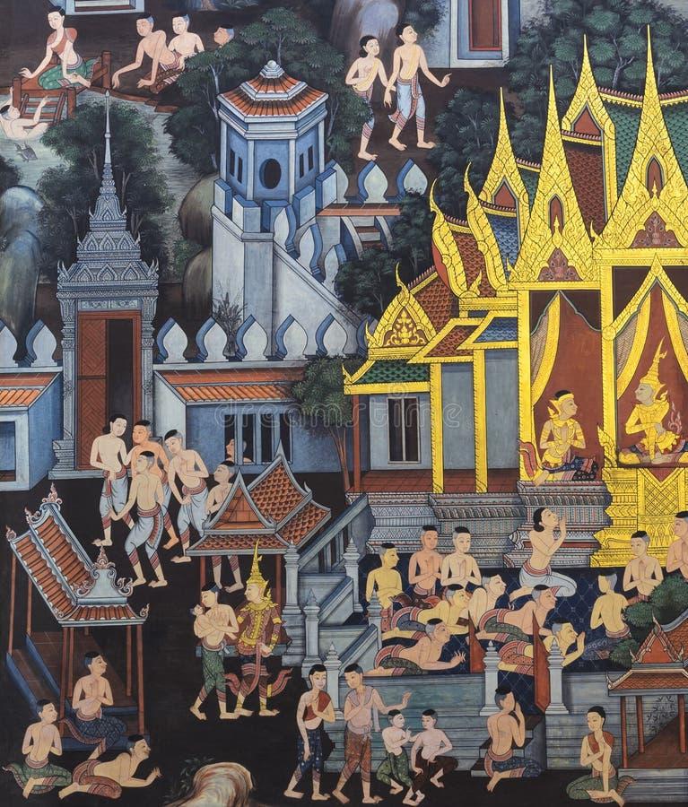 Download Thailändsk Vägg- Målning På Tempelväggen Arkivfoto - Bild av stil, religion: 78728188