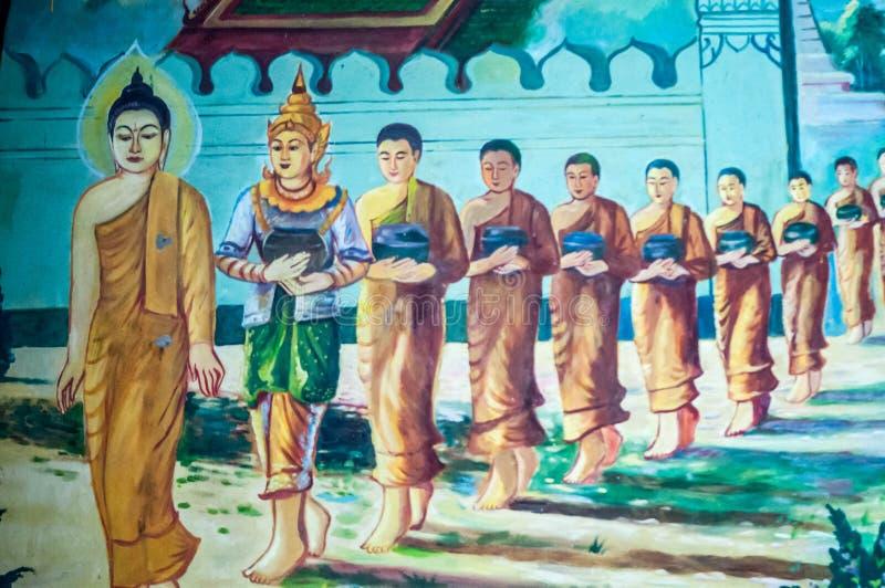 Thailändsk väggmålning i templet, Bangkok, Thailand arkivbilder