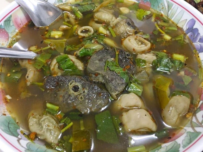 Thailändsk varm och sur nötköttsoppa, thailändsk mat royaltyfri foto