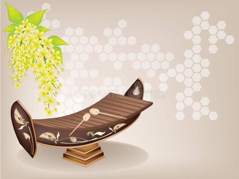 Thailändsk xylofon och Cassia Fistula Flower på brunt  vektor illustrationer