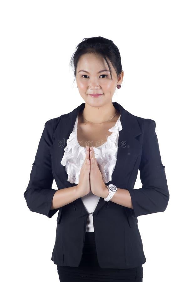 Thailändska affärskvinnor i traditionellt välkomna fotografering för bildbyråer