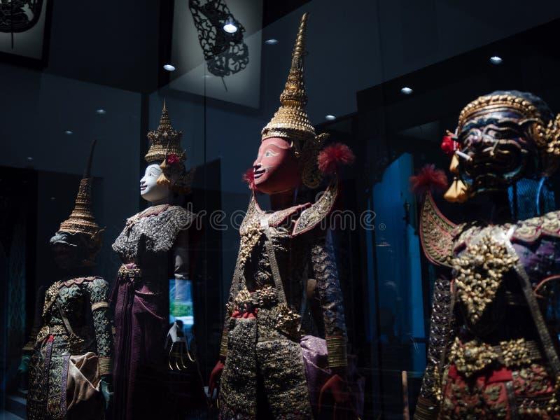 Thailändska forntida Ramayana teckendockor kallade den stora dockan royaltyfria foton