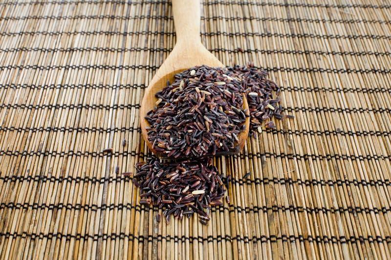 Thailändska svarta jasminris (risbär) i träsked arkivfoton