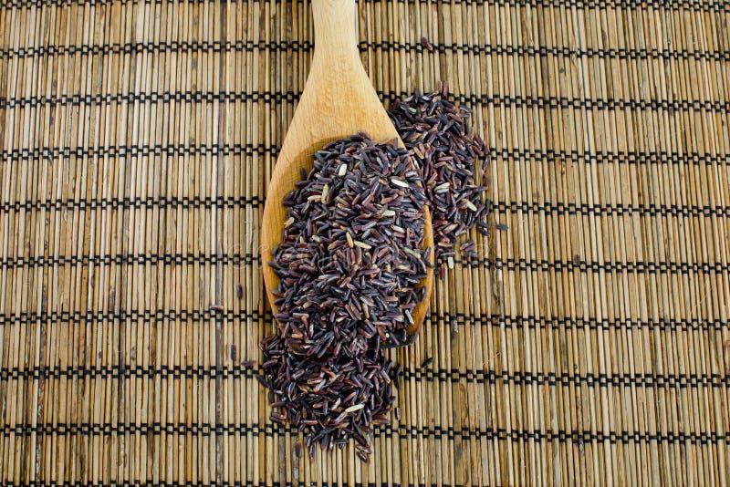 Thailändska svarta jasminris (risbär) i träsked arkivbilder