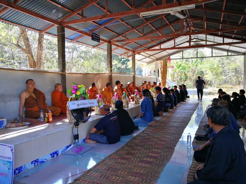 Thailändskt lantligt traditionellt av begravningen fotografering för bildbyråer