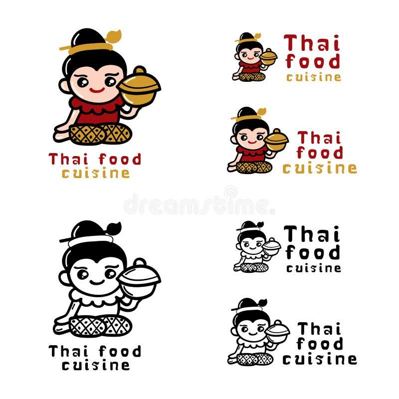 Thailändskt matlogobegrepp royaltyfri illustrationer