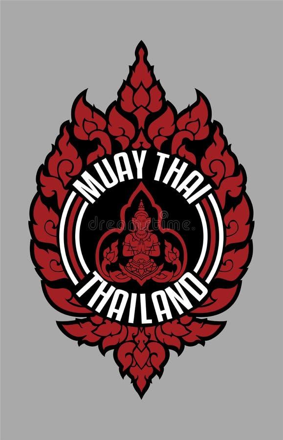 THAILÄNDSKT TRADITIONELLT EMBLEM THAILAND FÖR MUAY royaltyfri fotografi