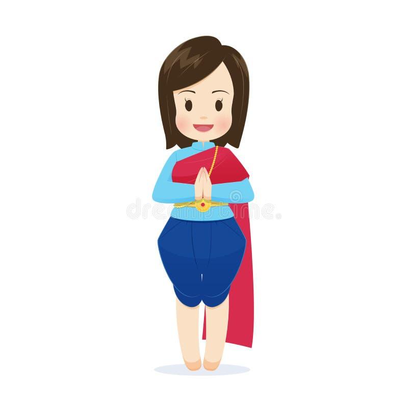 Thail?ndische Frauen der Illustration im thail?ndischen Trachtenkleid vektor abbildung
