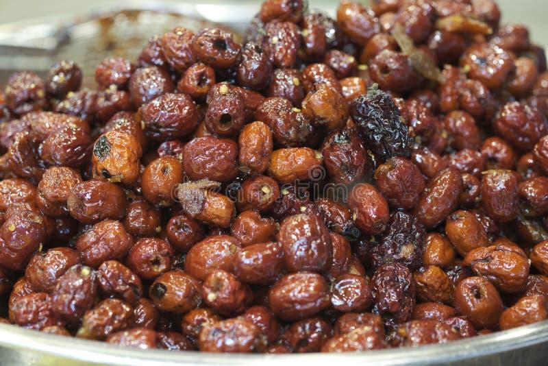 Thail?ndischer Nachtisch: Bonbon getrocknete chinesische Jujube stockbild