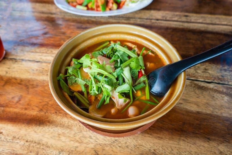 Thail?ndischer Tom Kha Gai, thail?ndische Suppe mit Huhn und Gem?se lizenzfreie stockbilder