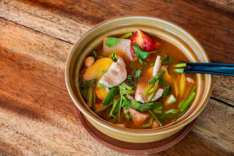Thail?ndischer Tom Kha Gai, thail?ndische Suppe mit Huhn und Gem?se lizenzfreie stockfotografie