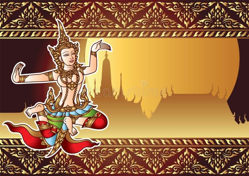 Thailand ängel med den forntida ramen och templet, fullmånebakgrund royaltyfri illustrationer