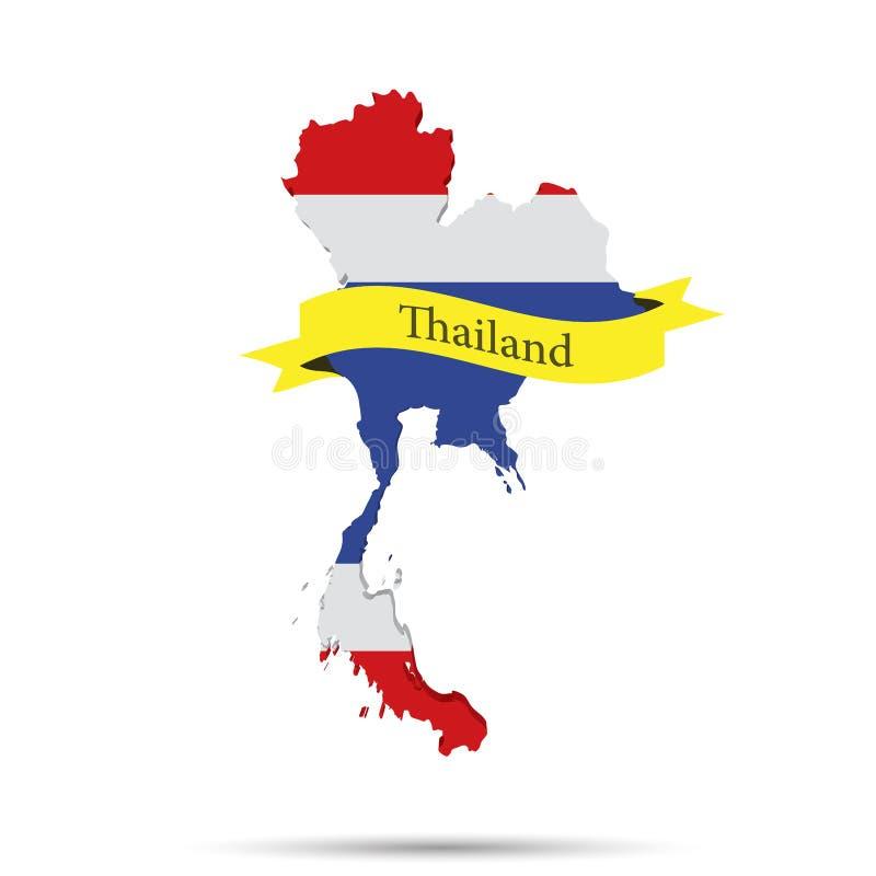 Thailand översikt och band på vit bakgrund royaltyfri illustrationer