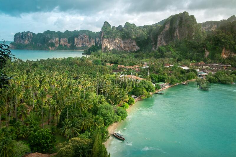 Thailand Aerial view of tropical island, blue lagoon, rocks and palms, Railay beach, Krabi. Aerial view of tropical island, blue lagoon, rocks and palms, Railay royalty free stock images