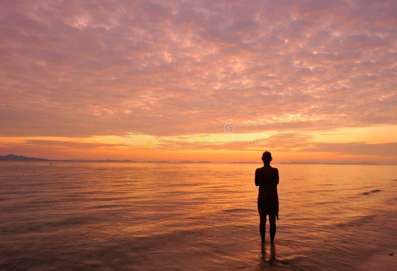 Thailand. Andaman sea. Phi Phi island. Alone girl royalty free stock images