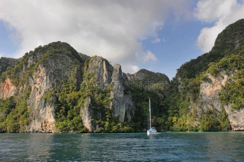 Thailand. Andaman sea. Phi Phi island. White yacht
