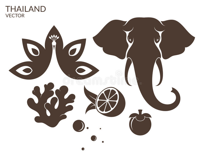 thailand animale frutta illustrazione di stock