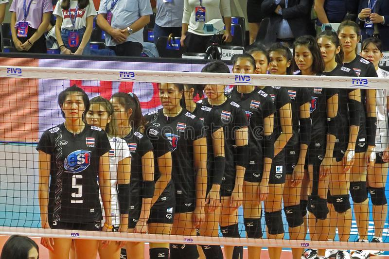 Thailand anthem. The thailand volleyball team during the anthem during the nations league match vs belgium played at eboli in italy royalty free stock photos