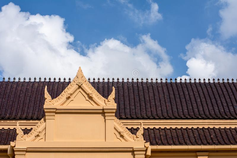 Thailand antique ceramic roof at the temple. royalty free stock photos