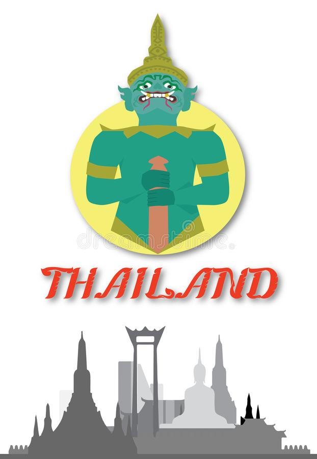 Thailand art Thai Temple Guardian Giant  illustration vector illustration