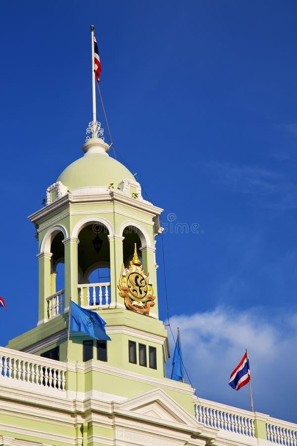 Thailand asia bangkok flaggahimmel och färgreligio royaltyfri fotografi