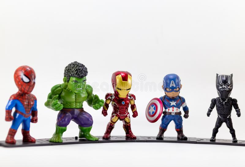 THAILAND, August 2018 :the adventure team on white background :. Marvel toy collection in marketing campaign from Tesco Lotus Express stock image