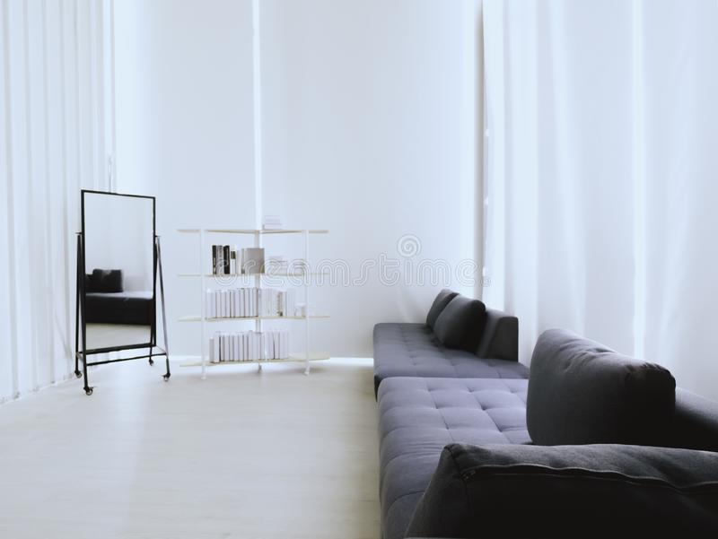 Thailand. on 24/04/2019. Available white and black concept living room with smooth light and book shelf stock photo