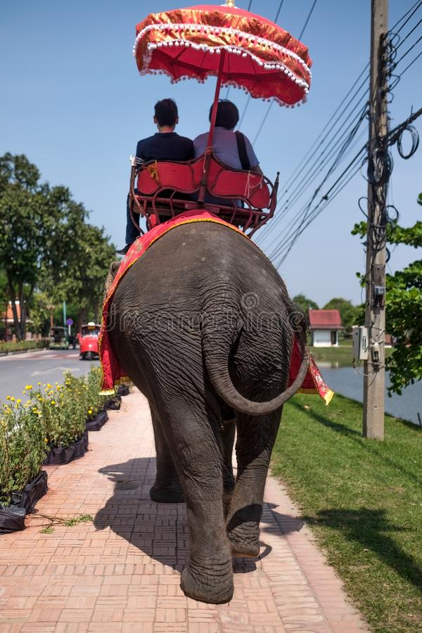 Thailand, Ayutthaya October 31 2017: Tourists on a elephant tour ride of the ancient city royalty free stock images